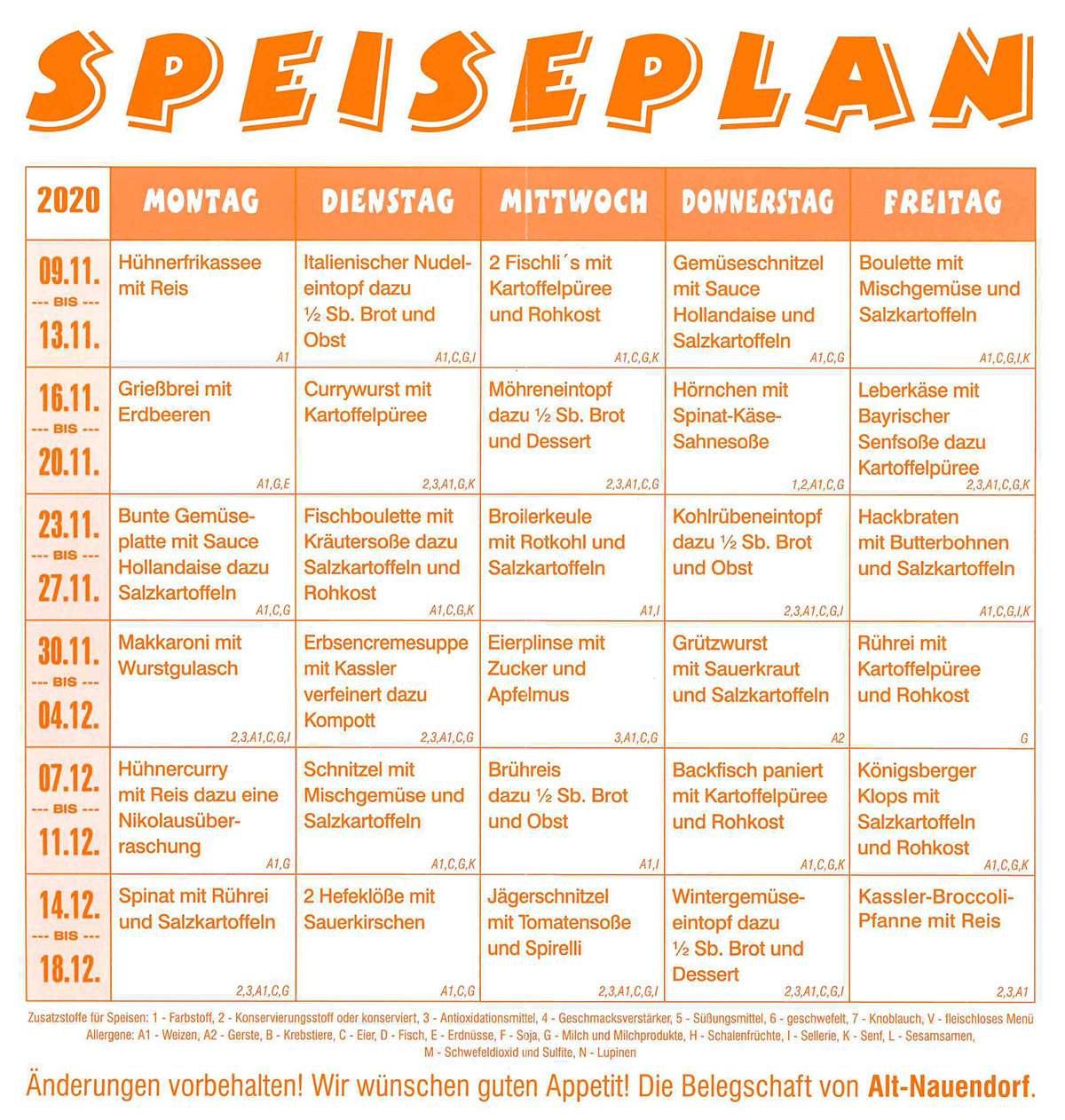 Speiseplan April Mai 2020